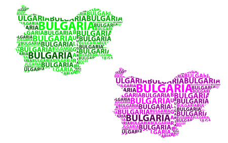 Sketch Bulgaria letter text map, Bulgaria - in the shape of the continent, Map Republic of Bulgaria - green and purple vector illustration