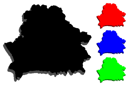 3D map of Belarus (Byelorussia or Belorussia) - black, blue and green - vector illustration Illustration