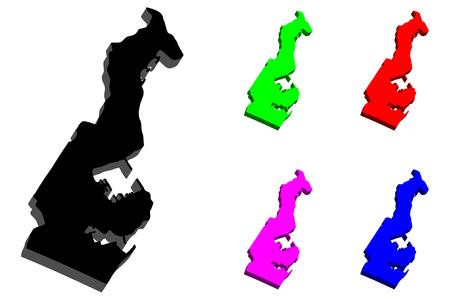 3D map of Monaco (Principality of Monaco) - black, red, purple, blue and green - vector illustration