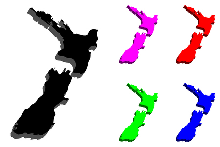 3D map of New Zealand ( Aotearoa) - black, red, purple, blue and green - vector illustration Illustration