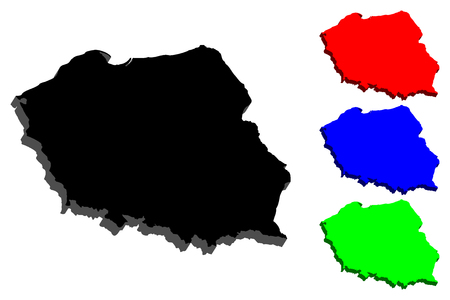 3D map of Poland (Republic of Poland) - black, red, blue and green - vector illustration