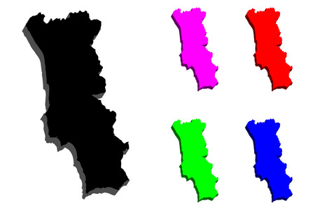 3D map of Portugal (Portuguese Republic) - black, red, purple, blue and green - vector illustration
