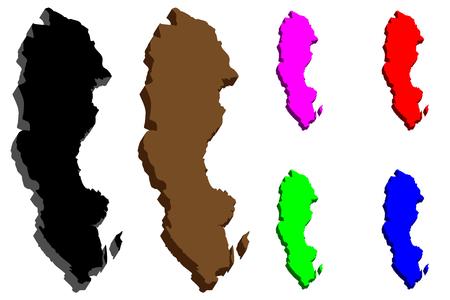 3D map of Sweden (Kingdom of Sweden) - black, purple, brown, red, blue and green - vector illustration