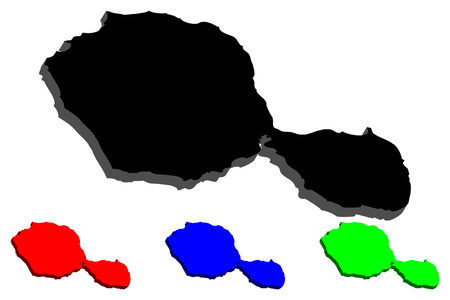 3D map of Tahiti (Otaheite) - black, red, blue and green - vector illustration