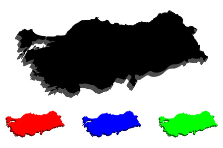 3D map of Turkey (Republic of Turkey) - black, red, blue and green - vector illustration