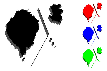 3D map of Sao Tome and Principe (Democratic Republic of Sao Tome and Principe) - black, red, blue and green - vector illustration