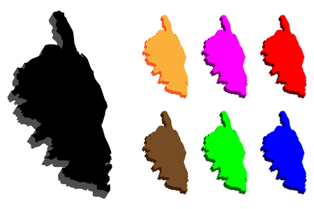3D map of Corsica (French Republic islands) - black, purple, orange, brown, red, blue and green - vector illustration
