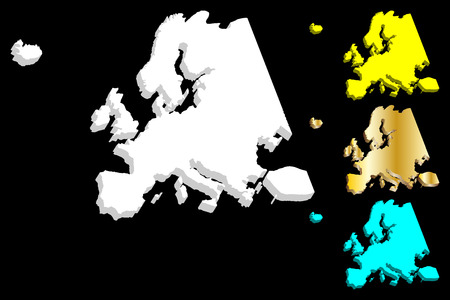 3D map of Europe continent - white, gold, blue and yellow - vector illustration