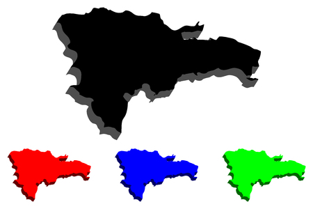 3D map of Dominican Republic (Hispaniola) - black, red, blue and green - vector illustration
