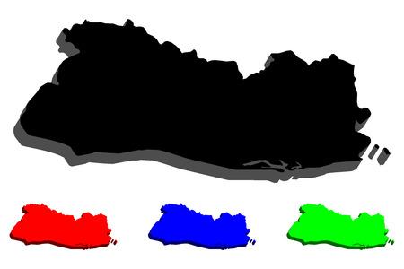 3D map of El Salvador (Republic of El Salvador) - black, red, blue and green - vector illustration