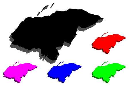 3D map of Honduras (Republic of Honduras, Spanish Honduras) - black, red, purple, blue and green - vector illustration