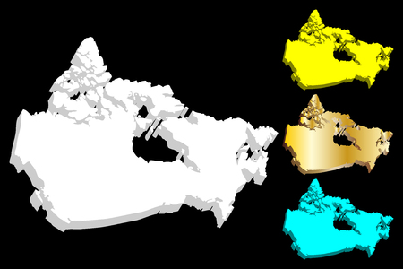 3D map of Canada - white, blue and gold - vector illustration Illustration