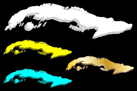 3D map of Cuba (Republic of Cuba) - white, yellow, blue and gold - vector illustration Vektoros illusztráció