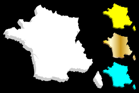 3D map of France (French Republic) - white, yellow, blue and gold - vector illustration 向量圖像