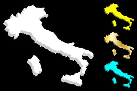 3D map of Italy (Italian Republic) - white, yellow, blue and gold - vector illustration 일러스트