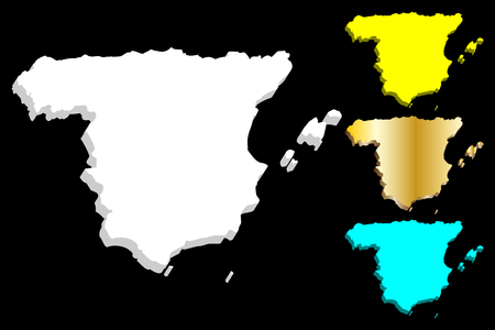 3D map of Spain (Kingdom of Spain) - white, yellow, blue and gold - vector illustration
