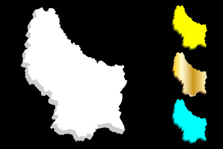 3D map of Luxembourg (Grand Duchy of Luxembourg) - white, yellow, blue and gold - vector illustration