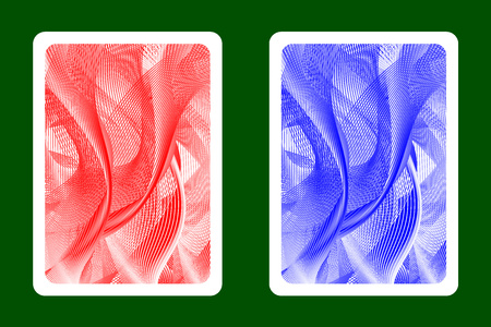 Playing Card Back Designs - Abstract wave lines pattern - red and blue vector