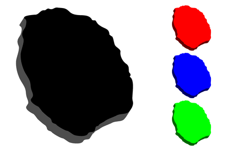 3D map of Nevis (Federation of Saint Kitts and Nevis) - black, red, blue and green - vector illustration