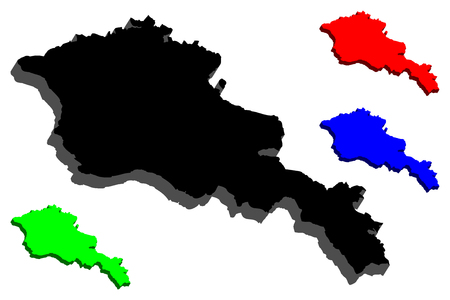 3D map of Armenia (Republic of Armenia) -  black, red, blue and green - vector illustration