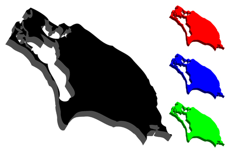 3D map of Barbuda (Antigua and Barbuda) - black, red, blue and green - vector illustration