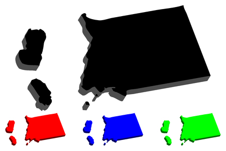 3D map of Equatorial Guinea (Republic of Equatorial Guinea) -  black, red, blue and green - vector illustration