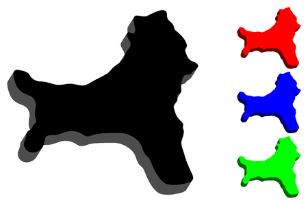 3D map of Christmas Island (Territory of Christmas Island, Australian external territory) - black, red, blue and green - vector illustration Vetores
