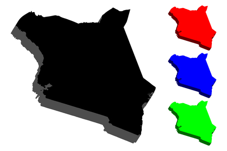 3D map of Kenya (Republic of Kenya) - black, red, blue and green - vector illustration