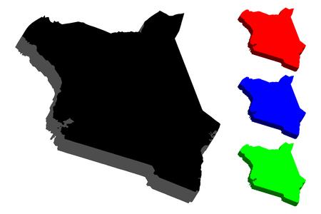3D map of Kenya (Republic of Kenya) - black, red, blue and green - vector illustration