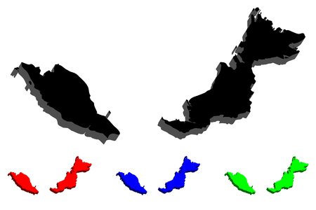 3D map of Malaysia (Peninsular Malaysia and Malaysian Borneo) -  black, red, blue and green - vector illustration