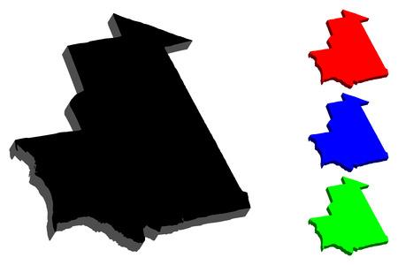 Mapa 3D de Mauritania (República Islámica de Mauritania) - negro, rojo, azul y verde - ilustración vectorial