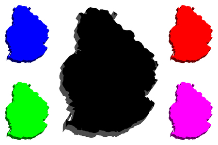 3D map of Mauritius (Republic of Mauritius) - black, red, purple, blue and green - vector illustration