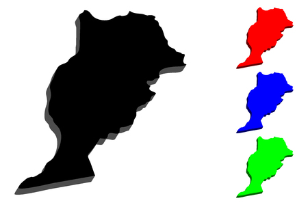 3D map of Morocco (Kingdom of Morocco) - black, red, blue and green - vector illustration
