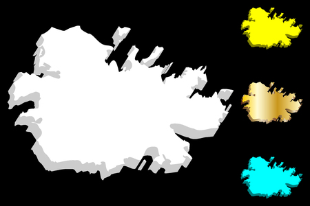 3D map of Antigua (Waladli or Wadadli, Antigua and Barbuda) - white, yellow, blue and gold - vector illustration