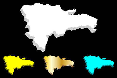 3D map of Dominican Republic (Hispaniola) - white, yellow, blue and gold - vector illustration