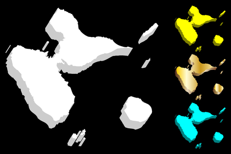 3D map of Guadeloupe (island - insular region of France) - white, yellow, blue and gold - vector illustration