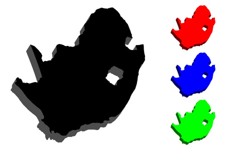 3D map of South Africa (Republic of South Africa, RSA) -  black, red, blue and green - vector illustration