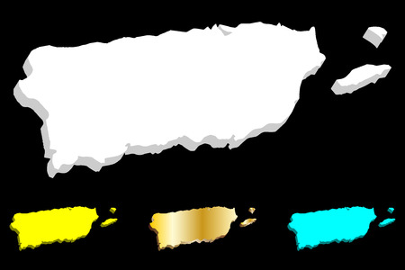 3D map of Puerto Rico (Commonwealth of Puerto Rico, Porto Rico) - white, yellow, blue and gold - vector illustration