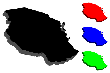 3D map of Tanzania (United Republic of Tanzania) - black, red, blue and green - vector illustration