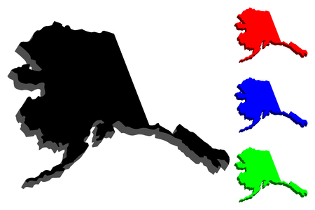 3D map of Alaska (United States of America) - black, red, blue and green - vector illustration