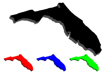3D map of Florida (United States of America, The Sunshine State) - black, red, blue and green - vector illustration
