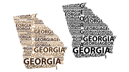 Sketch Georgia (United States of America) letter text map, Georgia map - in the shape of the continent, Map Georgia (U.S. state) - brown and black vector illustration Иллюстрация