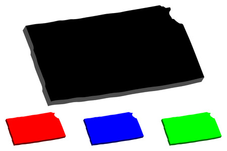 3D map of Kansas (United States of America) - black, red, blue and green - vector illustration Illustration
