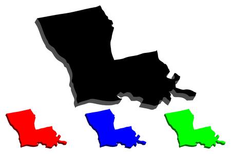Carte 3D de la Louisiane (États-Unis d'Amérique) - noir, rouge, bleu et vert - illustration vectorielle