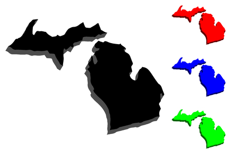 3D map of Michigan (United States of America, The Great Lake State) - black, red, blue and green - vector illustration