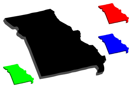 3D map of Missouri (United States of America) - black, red, blue and green - vector illustration