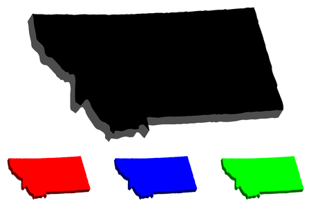 3D map of Montana (United States of America, Big Sky Country) - black, red, blue and green - vector illustration