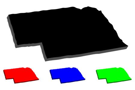 3D map of Nebraska (United States of America, Cornhusker State) - black, red, blue and green - vector illustration