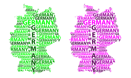 Sketch Germany letter text map, Federal Republic of Germany - in the shape of the continent, Map Germany - green and purple vector illustration  イラスト・ベクター素材