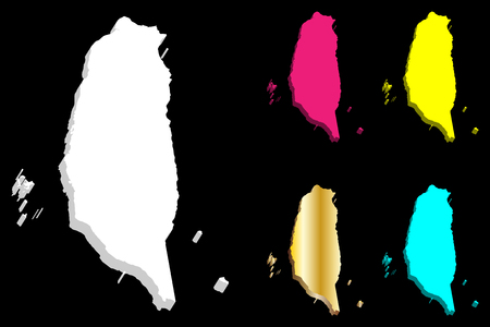 3D map of Taiwan (Republic of China ,ROC) - white, yellow, purple, blue and gold - vector illustration Vetores